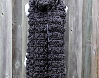 LONG WINTER SCARF, soft long scarf, chunky knit scarf in soft charcoal grey, cozy softness, textured scarf, available in many colors