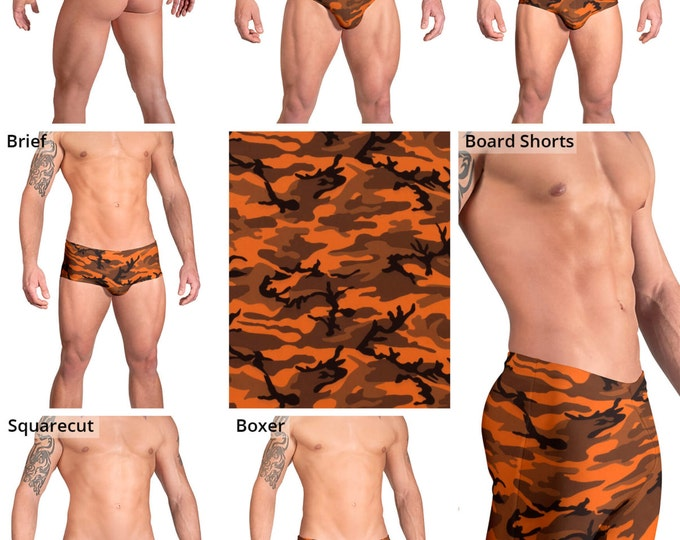 Deep Orange Camouflage Swimsuits for Men by Vuthy Sim.  Thong, Bikini, Brief, Squarecut, Boxer, or Board Shorts - 160