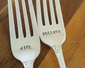 Husband and Wife / Wedding Forks / Dessert Forks / Wedding Cake Forks / Table Decor / Hand Stamped Silverware / Engraved Wedding Forks