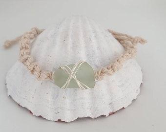 Seafoam seaglass hemp bracelet/knitted hemp & silver/sustainable jewelry