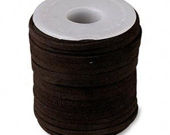 Genuine Suede Leather Cord Lace Dark Brown Chocolate 3mm wide for necklaces and bracelets, 10 or 25 ft.