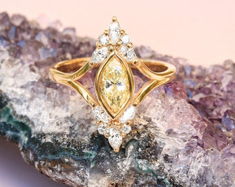 Unique Engagement Marquise Diamond Ring - Vintage, Art Deco , Cluster Diamond Ring, 14K Yellow Gold, Ring Size 7, Audrey