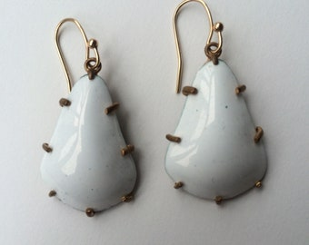 White Wide Prong Earrings