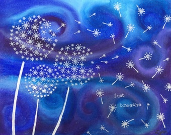 Print of a Mixed Media Canvas Original - Blue and purple swirls with dandelion puffs