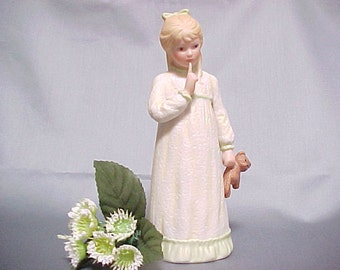 Goebel Figurine Hush a Bye by Irene Spencer, 1983 Collectors Club Small Porcelain Blond Girl Holding Her Bedtime Teddy Bear, Home Decor