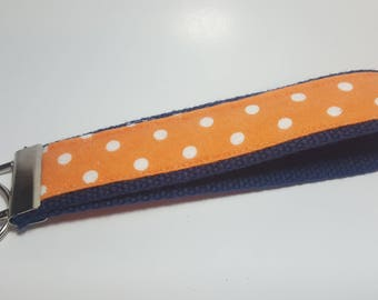Orange and White Polka Dot Keychain FOB on Navy Blue Heavy Duty Cotton Webbing