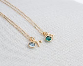 Zodiac & Birthstone Necklace, Gold zodiac necklace, birthstone jewelry