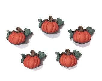 Pumpkin Buttons Jesse James Buttons Pumpkin Patch Set of 5 Shank Back Leaves Fall Autumn Halloween Thanksgiving - 200 C 197