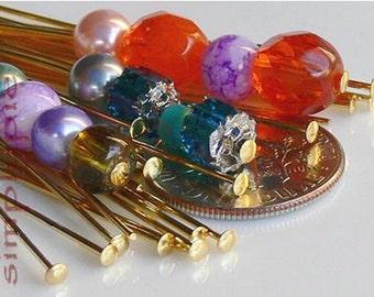 Gold Headpins, 4-INCH Long 20  Brass Head Pins, 21-Gauge