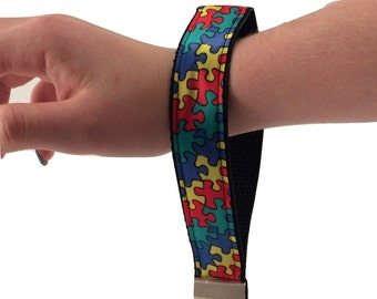Autism Awareness Puzzle Key Chain / Keyfob with black backing and a sturdy 12 inch wrist loop - made by Adults with Special Needs