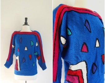MOVING SALE Vintage angora royal blue bright geometric pattern sweater / retro triangles pullover jumper