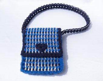 Hand bag, bright blue and royal blue