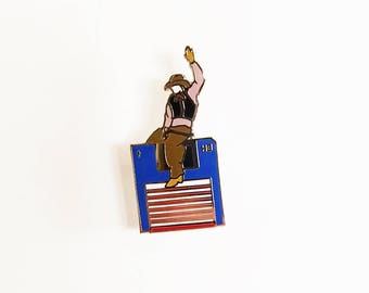 Floppy Disk Cowboy Hard Enamel Lapel Pin