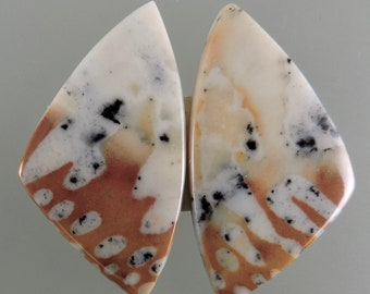 Fawn Stone Cabochons, Fawn Stone Earring Cabs, Designer Fawn Stone Cabs, Earring Cabs, C2891, Hand Cut by 49erMinerals