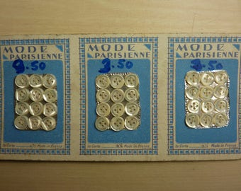 36 old Pearl buttons on 3 cards of 12 buttons 4 hole 8 mm Parisian fashion