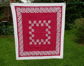 Vintage Tablecloth Geometic Greek Key Pattern Mulberry Grey & White