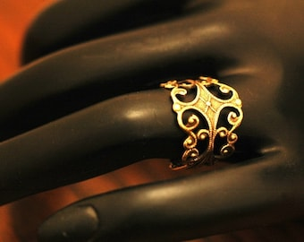Filigree Ring   ---   Oxidized Brass  -  Small Size  --  Adjustable  -- Size 3 to 6 - Adjustable Ring
