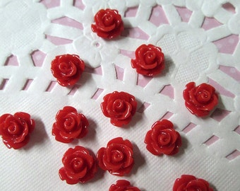 Red 10mm rose flower cabochons, cute flower cabs