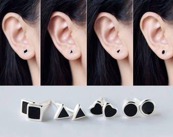 Black Epoxy Tiny Silver Earrings, silver earrings, black epoxy square/triangle/heart/circle earrings