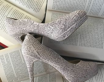 Once Upon  Time - Custom Literature Platform Pumps by Couture Cobbler