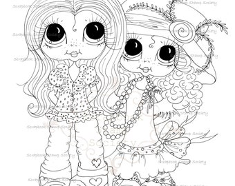 INSTANT DOWNLOAD Digital Digi Stamps Big Eye Big Head Dolls Bestie Best Friends By Sherri Baldy