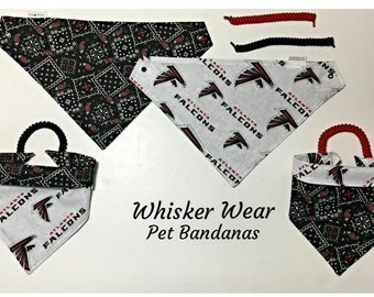 Atlanta football fabric, reversible custom pet bandana, sizes XS-XL, pet scarf, dog scarf, dog bandana, pet wear