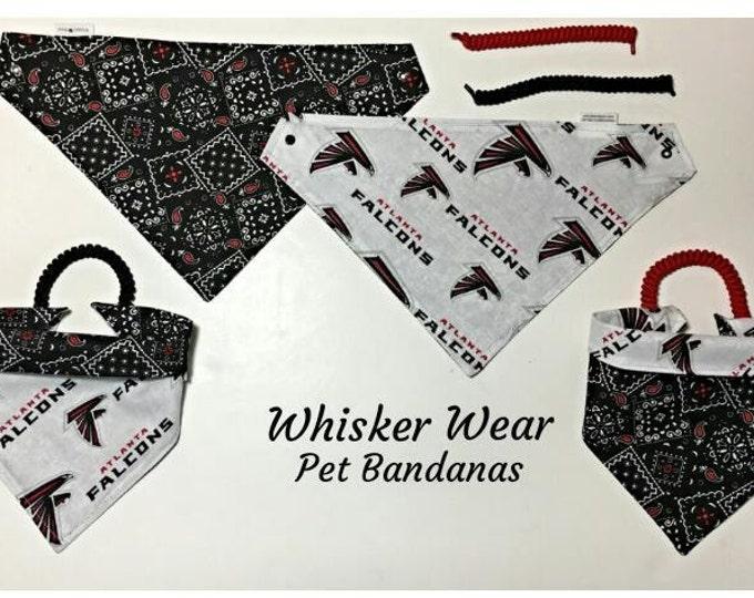 Atlanta football fabric, reversible custom pet bandana, sizes XS-XL, pet scarf, dog scarf, dog bandana, pet wear