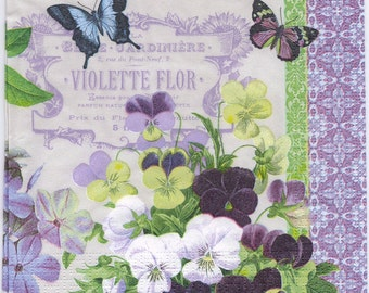 Decoupage Napkins | French Violets and Butterflies | Floral Napkins | Violet Napkins | Butterfly Napkins | Paper Napkins for Decoupage
