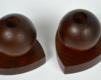 Mid Century Modern Walnut Candle Holders
