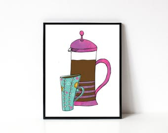 French Press Coffee Illustration - Kitchen Wall Art - 8x10 Kitchen Art Print - Kitchen Art - Coffee Wall Art - Coffee Lover Gift Idea