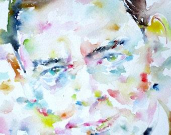 T.S. ELIOT  - original watercolor portrait - one of a kind!