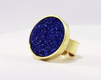 Blue Ring Druzy Ring Titanium Statement Cocktail Ring Gold Ring Bezel Ring Adjustable Ring Fine Druzy Jewelry FD-R-105-B/g