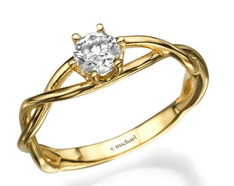 Engagement Ring, Diamond Ring, Diamond Engagement Ring, Engagement Band, 14k Ring, Yellow Gold Ring, 0.50CT Diamond Ring , Solitaire Ring
