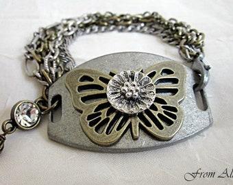 Butterfuly Bracelet, Boho Bracelet, Bronze Butterfuly Bracelet, Pewter Butterfly Bracelet, Mixed Metals Boho Bracelet, Boho Rustic Bracelet