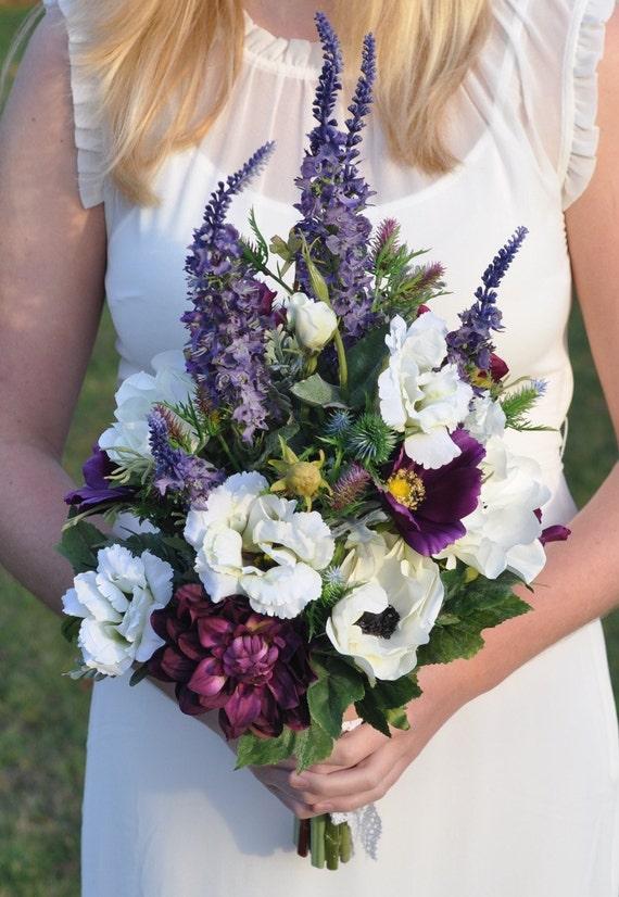 Wildflower Silk Flower Wedding Bouquet Lavender Anemone