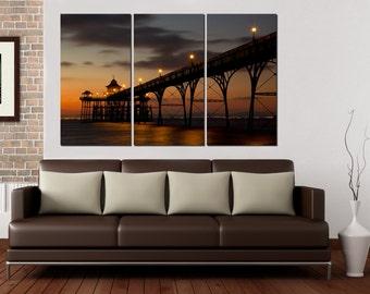 "Beautiful bridge in the ocean at night. 3 panel split (triptych) Canvas Print. 1.5"" deep frames , for interior room decorwall art"
