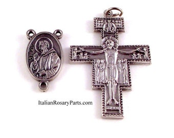 St Padre Pio Relic Rosary Crucifix and Medal Set | Italian Rosary Parts
