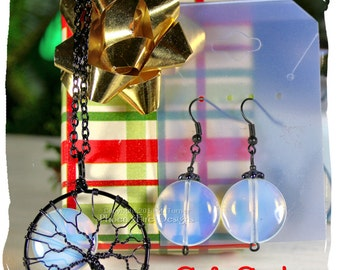 HOLIDAY GIFT SET Rainbow Moonstone Necklace Full Moon Tree of Life Pendant Matching Earrings Black Wire Wrapped Opalite Jewelry Gift for Her