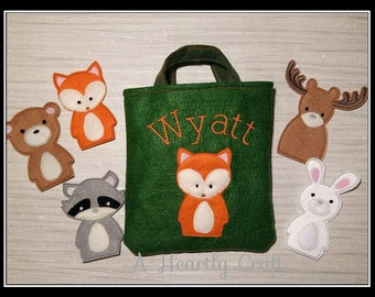 Woodland Animal Finger Puppets with Personalised Felt bag Fox Raccoon Moose Rabbit Bear - Baby Shower Birthday Celebration Christmas Gift