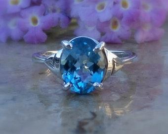 Topaz Ring, Swiss Blue Topaz Ring, in Sterling Silver