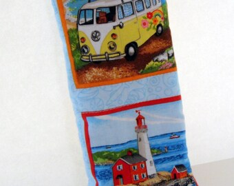 Beach Sunglass Case, VW Wagon Eyeglass Holder, Lighthouse Sunglass Case, Handmade by AnnieKDesigns