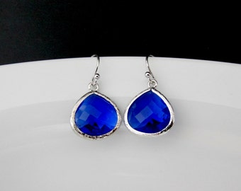 cobalt blue earrings , blue drop earring , bridesmaid blue earring , blue glass earring , blue dangle silver