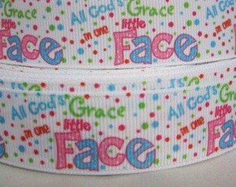 All of Gods grace ribbon - grosgrain ribbon - religious ribbon - wholesale supplies - hairbow supplies