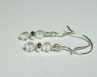 Swarovski Crystal Earrings.Sterling Silver Swarovski Earrings. Dressy. Sparkly. Small Dangle Earrings.