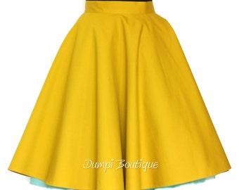 Women Tea Length Skirt - Full Circle Skirt - Skirt Mustard - Circle Skirt Women - Casual Skirt Woman -Vintage Womens Skirts