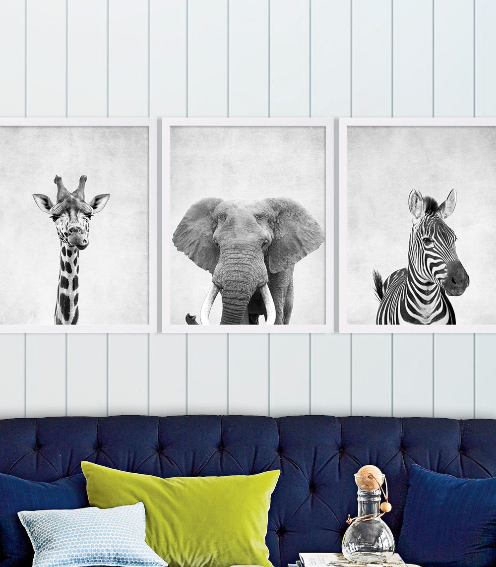 Set of Three Safari Animal Nursery Art Cute Nursery Decor Baby