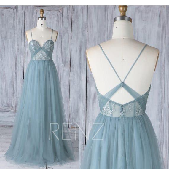 Bridesmaid Dress Dusty Blue Tulle Dresswedding