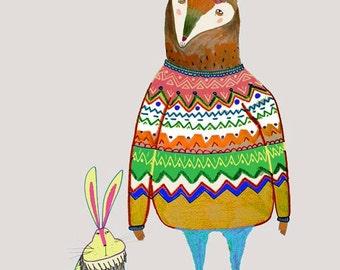 Deer and Rabbit . Illustration Art Print from Original Drawing. Owl Print.