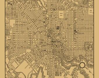 1944 Baltimore maryland City Street Map Vintage Sepia Print Poster