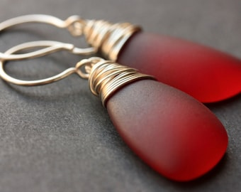Red Seaglass Earrings. Red Earrings. Sea Glass Earrings. Wire Wrapped Wing Earrings. Handmade Jewelry.